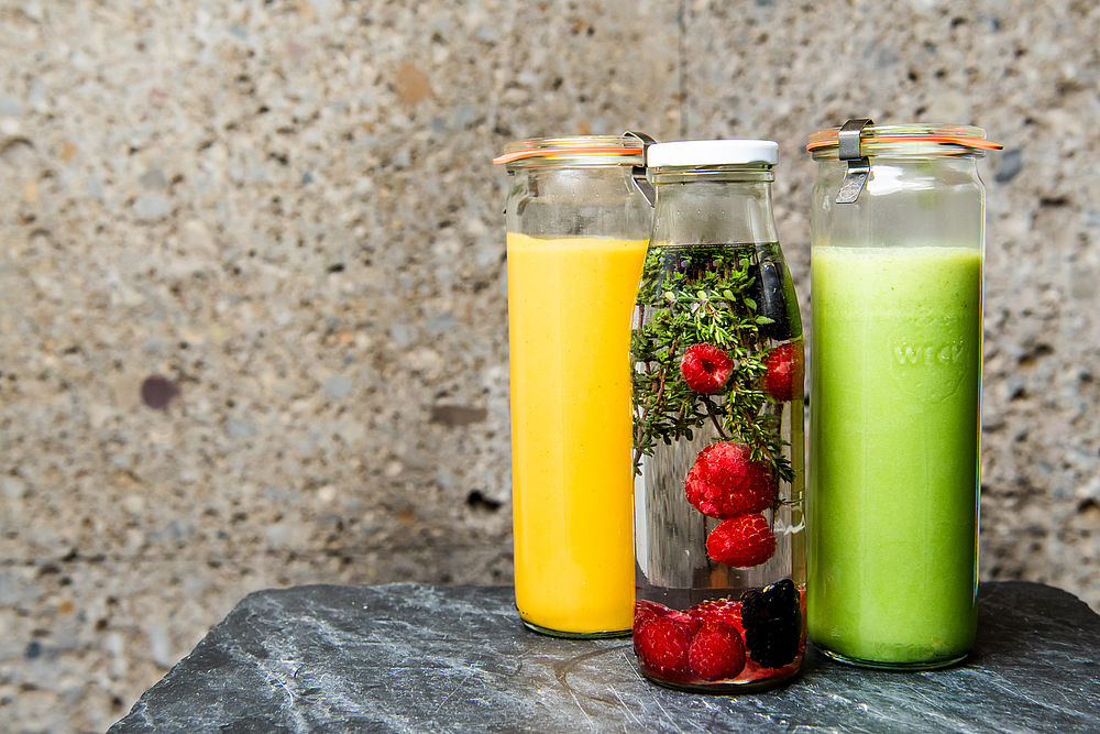Infused Water und Suppe für Take-Away im Gasthof Goldgasse